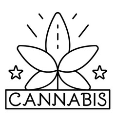 cannabis leaf logo outline style vector image