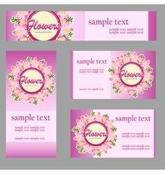 Cards with floral disign for your business needs vector image