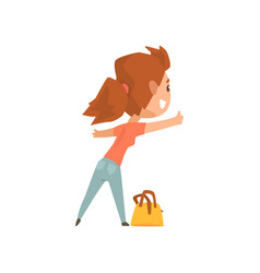 Cartoon female traveler hitchhiker with bag girl vector
