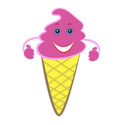 cartoon ice cream in a waffle cup vector image