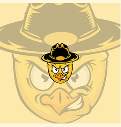 cartoon sheriff chicken mascot logo vector image