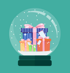 Christmas card snow globe with a new years gift vector