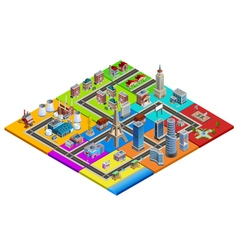 City Map Constructor Colorful Isometric Image vector