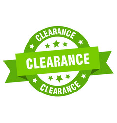 clearance ribbon clearance round green sign vector image