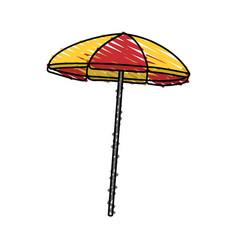 Color crayon stripe beach umbrella vector