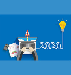 Creative light bulb idea 2020 new year business vector