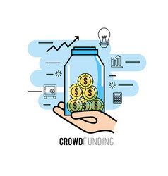 crowdfunding project support business service vector image