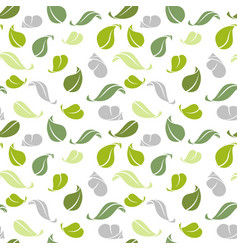 decorative seamless pattern green leaves vector image
