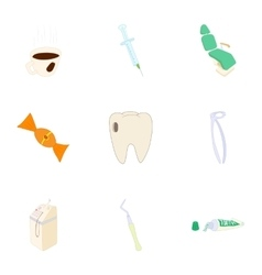 Dentist icons set cartoon style vector