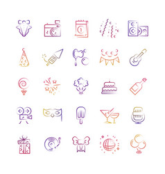 Event party birthday outline icons set vector