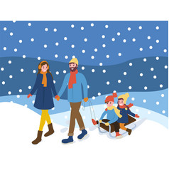 Family walking with sleigh snowing outdoor vector
