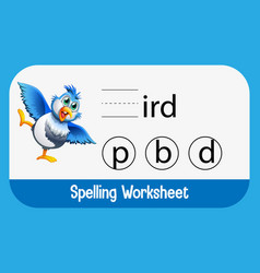 Find missing letter with bird vector