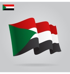 Flat and waving Sudan Flag vector