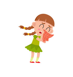 Flat girl kid blows her nose crying vector