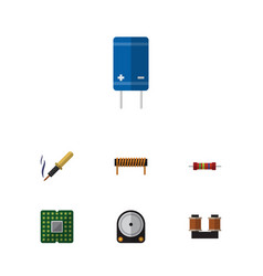Flat icon electronics set of coil copper hdd vector