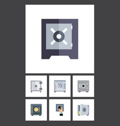 flat icon safe set of locked saving protection vector image