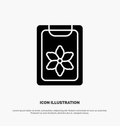 flower clipboard spring clip solid glyph icon vector image
