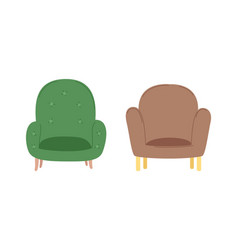 fluffy comfortable armchairs retro style vector image