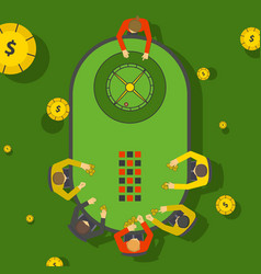 gambling people at casino roulette table vector image