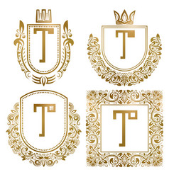 golden vintage monograms set heraldic logos t vector image