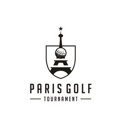 Golf logo paris tournament logo design vector