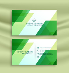 Green business card template with abstract shapes vector