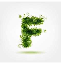 Green eco letter F for your design vector
