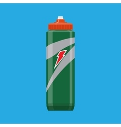 Green plastic sports bottle hydro flask water vector image