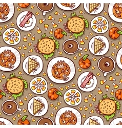 Halloween meal seamless pattern vector image