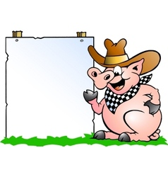 hand-drawn an pig chef in front a sign vector image