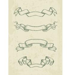 Hand drawn vintage ribbons vector