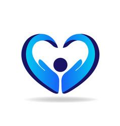 hands protection blue heart shape logo vector image