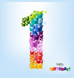 happy birthday postcard one year vector image