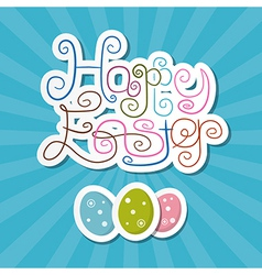 Happy Easter Paper Retro Blue Background vector image vector image