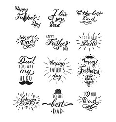 happy fathers day typography collection 12 vector image