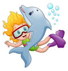 Happy snorkeling girl with a dolphin vector