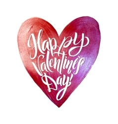 Happy Valentines Day Lettering Pink Foil Heart vector image