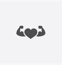 heart with muscle arms icon vector image