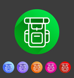 hiking backpack trekking camping icon flat web vector image