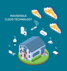 Household cloud technology isometric composition vector