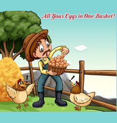Idiom poster for all your eggs in one basket vector