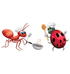 Insect chef cooking food vector