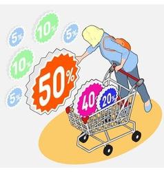 Isometric Grocery Shopping - Sale - Girl vector image