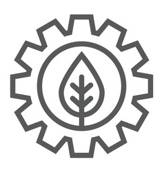 leaf in gear line icon ecology lamp and energy vector image