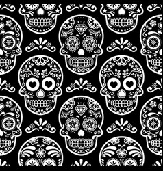 Mexican sugar skull seamless pattern on bla vector