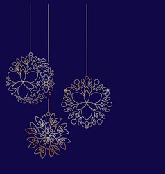 Minimalism golden linear floral christmas ball vector