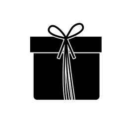 Monochrome silhouette with giftbox with ribbon vector