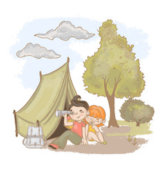 On trip rest at nature hand drawn illus vector