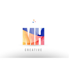 Orange blue alphabet letter mh m h logo icon vector