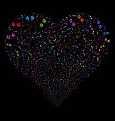 Paw footprints fireworks heart vector